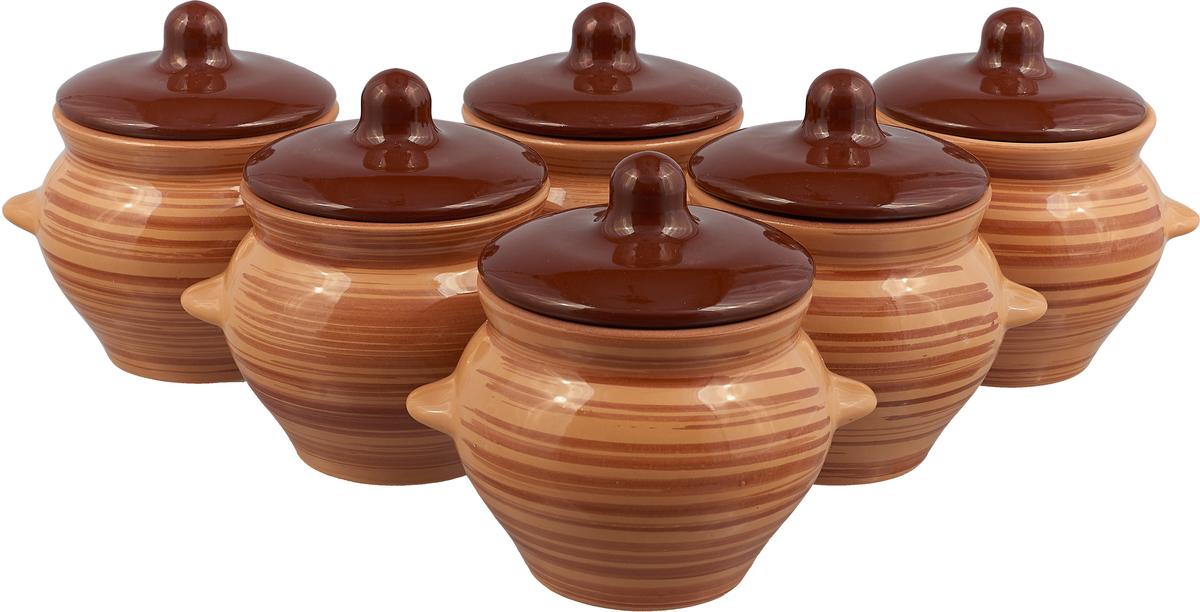 Набор горшочков для запекания Борисовская керамика Стандарт, с крышками, светло-коричневый, темно-коричневый, 500 мл, 6 шт