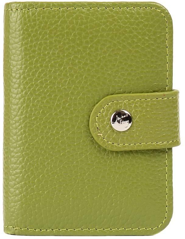 Визитница женская Janes Story, цвет: зеленый. K-LG-P01-71Натуральная кожаИдеальная карманная визитница, выполненная из натуральной кожи, аккуратно сшитая и великолепно подходящая на роль подарка. Модель продается в эффектной подарочной картонной коробке.