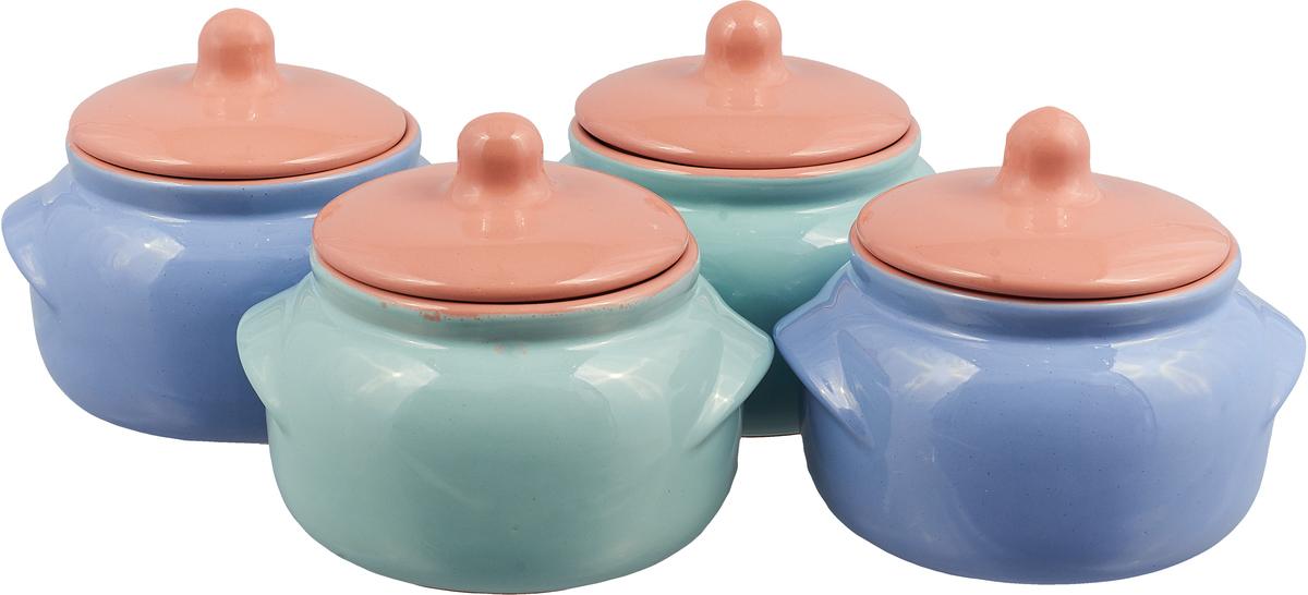 Набор горшочков для запекания Борисовская керамика Новарусса, цвет: оранжевый, голубой, 500 мл, 4 шт