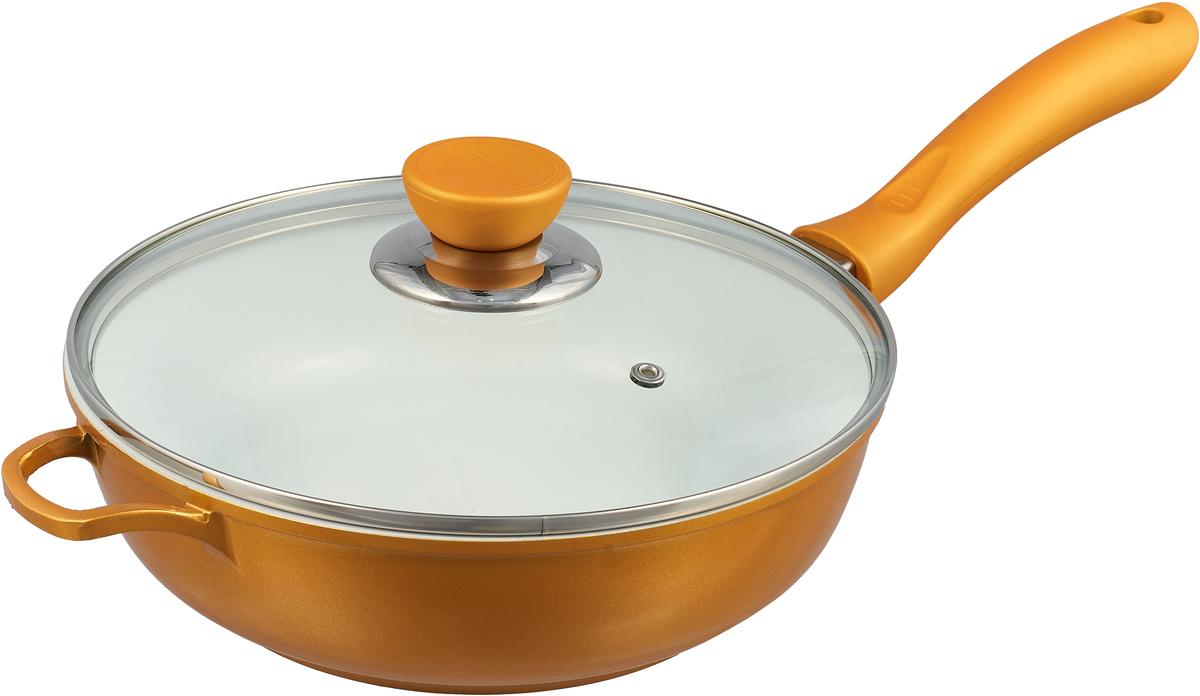 Сковорода BartonSteel с крышкой, с керамическим покрытием, цвет: желтый. Диаметр 24 см. сотейник axentia montero с крышкой с керамическим покрытием диаметр 24 см