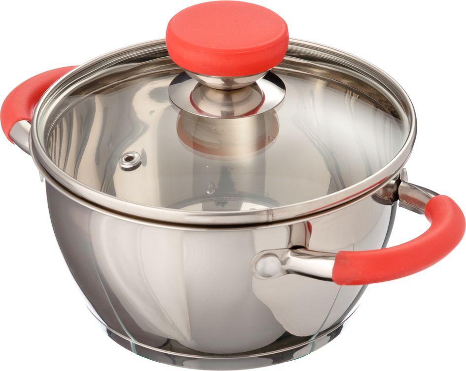 Кастрюля 5,4 литра из нержавеющей стали с мерной шкалой и с капсульным индукционным дном, способствующим равномерному нагреву, укомплектована стеклянной крышкой с пароотводом внешней посадки, с цельнометаллическими ручками в силиконовой оболочке красного цвета.   При приготовлении пищи в посуде из нержавеющей стали можно использовать аксессуары из металла. Иногда дно посуды становится разноцветным, как радуга - это нормальная реакция металла на нагрев и не оказывает какого-либо влияния на безопасность применения.