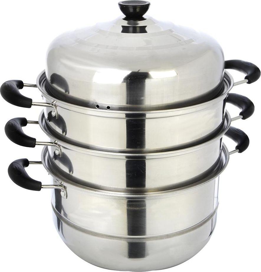 Мантоварка выполнена из нержавеющей стали и предназначена для приготовления диетических блюд на пару, в частности - мантов. Изделие состоит из 3 ярусов с перфорированным дном, основной кастрюли и крышки. Крышка плотно прилегает к краю мантоварки, сохраняя аромат блюд. Мантоварка оснащена удобными ручками, выполненными из бакелита. Изделие можно использовать на любых видах плит, включая индукционные.