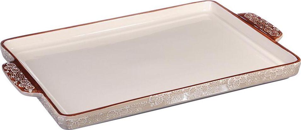 Форма для выпечки Millimi, прямоугольная, с ручками, цвет: бежевый, 41 х 25,5 х 3 см826250Форма для запекания Millimi изготовлена из экологически чистой жаропрочной керамики с глазурованным покрытием. Изделие удобной и красивой прямоугольной формы с низкими бортами, оформлено изящным рисунком, снабжено удобными ручками, подходит для запекания пирогов. Форма для запекания обеспечивает равномерное приготовление блюд по всей поверхности и долго сохраняет тепло. Отлично подходит для последующей сервировки готового блюда.