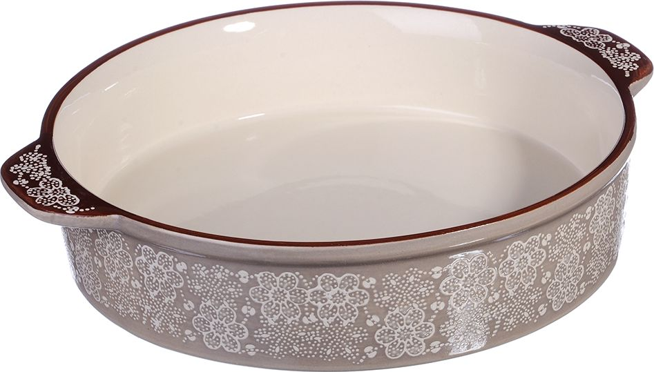 Форма для запекания MILLIMI изготовлена из экологически чистой жаропрочной керамики с глазурованным покрытием. Изделие удобной и красивой круглой формы, оформлено изящным рисунком, снабжено удобными ручками, подходит для запекания и тушения разнообразных блюд: из мяса, птицы, овощей; запеканок, пирогов. Форма для запекания обеспечивает равномерное приготовление блюд по всей поверхности и долго сохраняет тепло. Отлично подходит для последующей сервировки готового блюда.