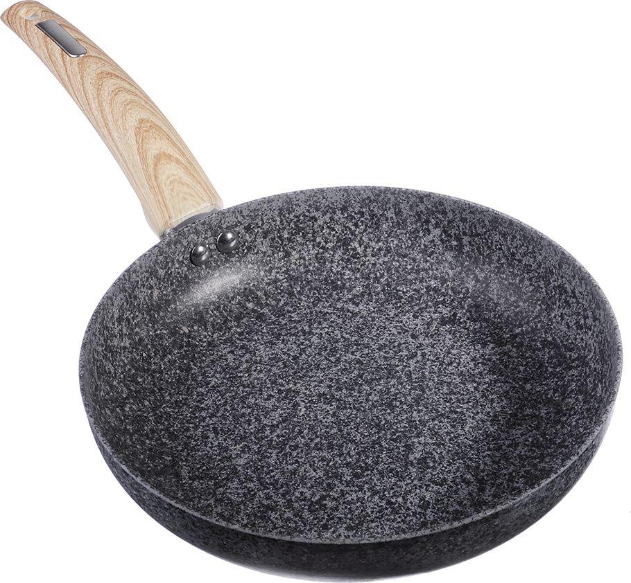 Сковорода Satoshi Аира, с антипригарным покрытием, цвет: серый. Диаметр 24 см846392Сковорода SATOSHI Аира выполнена из высококачественного литого алюминия, с антипригарным гранитным покрытием, с расцветкой под мрамор. Гранитное покрытие обладает повышенной прочностью и будет сохранять антипригарные свойства долгое время. Удобная ручка с противоскользящим покрытием не даст сковороде соскользнуть или перевернуться во время использования. На гранитном покрытии отлично сохраняются натуральные вкус и аромат продуктов. Возможность готовить без масла сделает Вашу кухню более здоровой и натуральной. Сковороду можно использовать на всех типах плит, кроме индукционных.