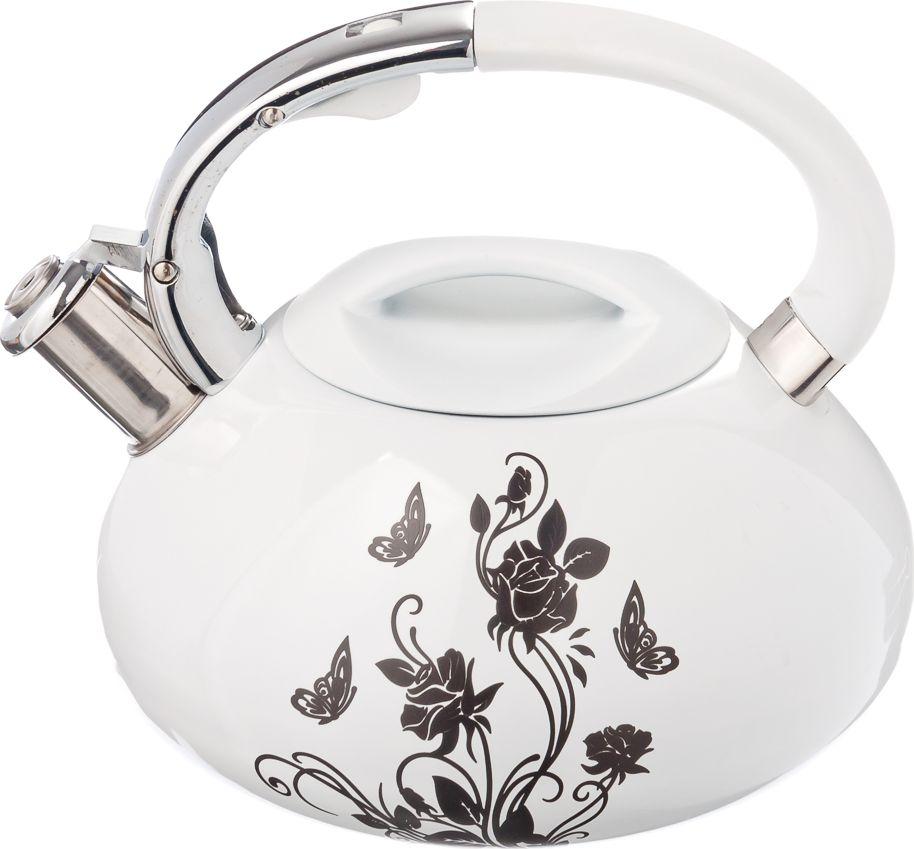 Чайник стальной Vetta Цветы, с терморисунком, 3 л чайники для плиты vetta чайник эмалированный