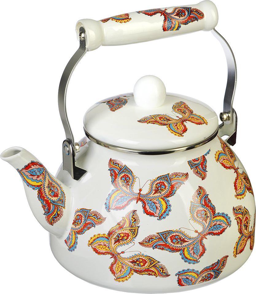 """Чайник VETTA """"Бабочка"""" изготовлен из стали высокого качества с эмалированным покрытием, декорирован красочным изображением. Чайники с эмалированным покрытием обладают неоспоримым преимуществом: гладкая поверхность не впитывает запахи и препятствует размножению бактерий. Изделие оснащено удобной керамической ручкой и крышкой. Чайник подходит для всех типов плит, включая индукционные. Можно мыть в посудомоечной машине."""