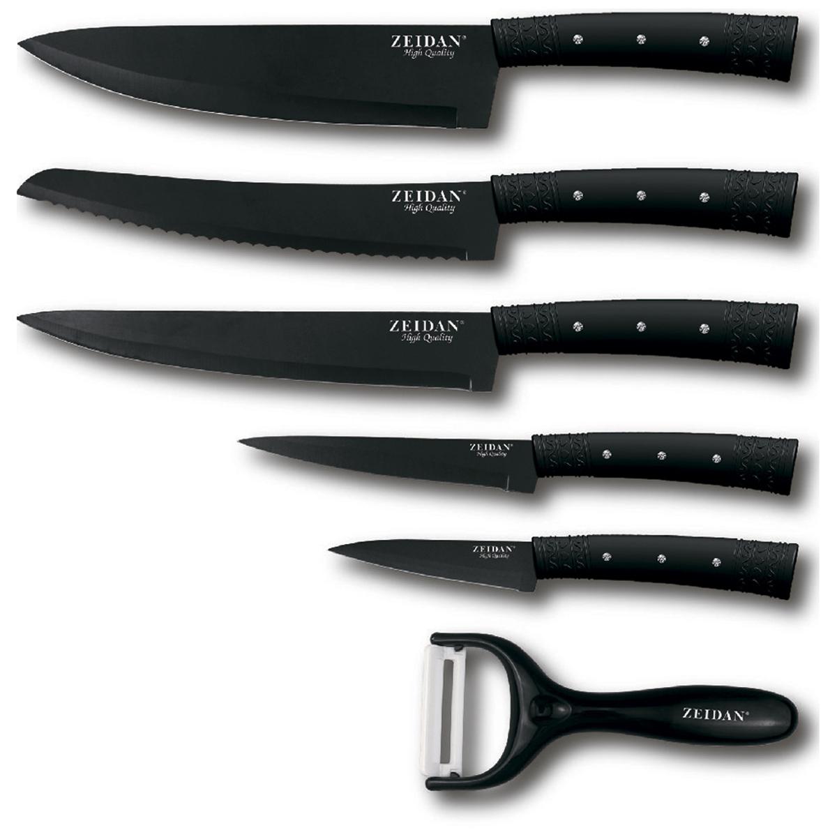 Набор ножей Zeidan Z-3088, 7 предметовНФ-00000813Набор ножей ZEIDAN Z-3088, 7 предметов, лезвия с антибактериальным покрытием (поварской нож -1,5mm/8, нож для хлеба -1,5mm/8, нож -разделочный-1,5/8, универсальный нож -1,2mm/5, нож для овощей – 1,2mm/3,5, овощечистка с керамическим лезвием, ручки прорезиненные с камнями, подарочная упаковка - деревянный кейс.