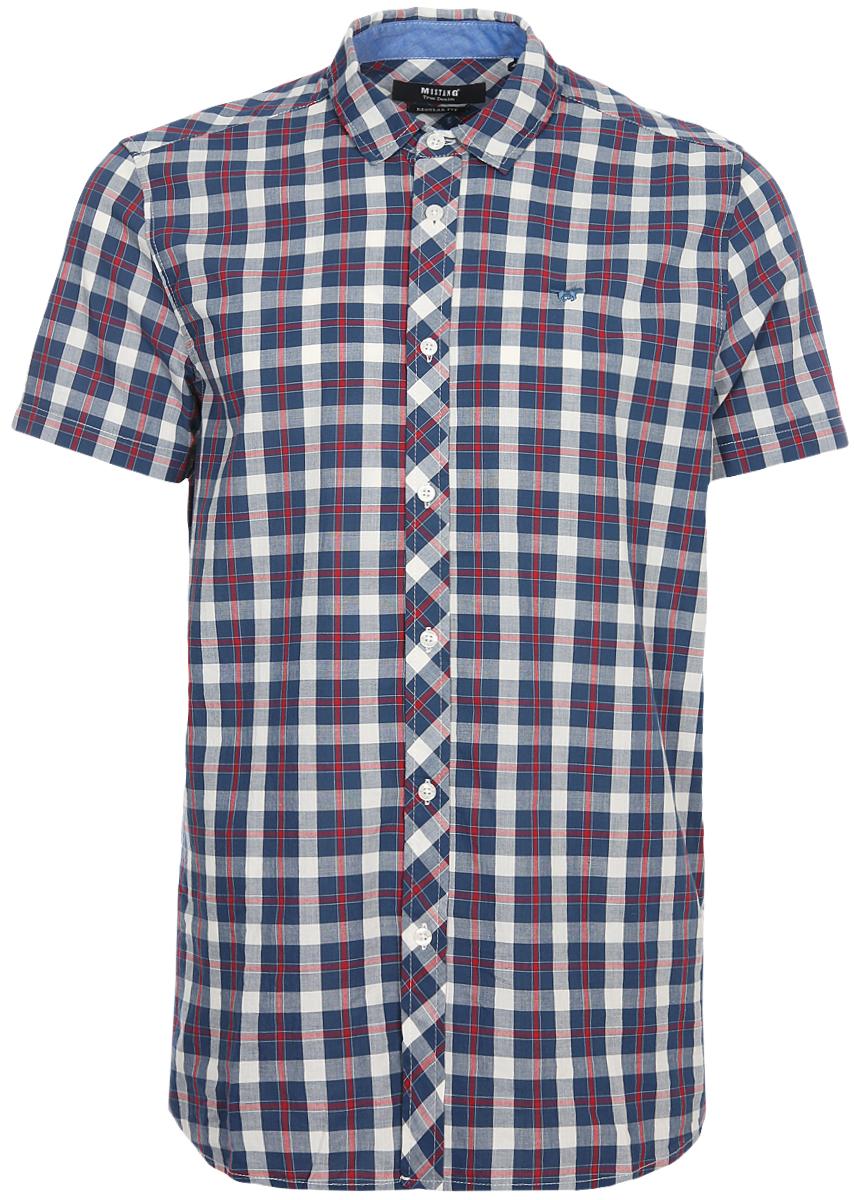 Рубашка мужская Mustang, цвет: синий, серый. 1005763-10996. Размер XXXL (56) футболка мужская mustang цвет белый 1005546 10971 размер xxxl 56