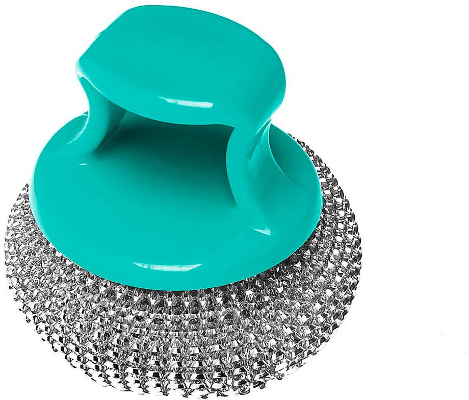 Мочалка металлическая You'll Love, с держателем, цвет: бирюзовый, диаметр 8 см оригинальный подарок love wan ko cmo 61