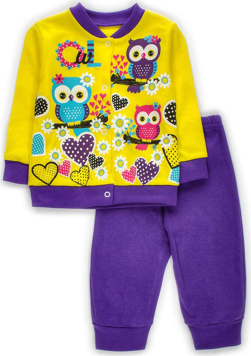 Комплект одежды детский M&D: штанишки, кофточка, цвет: желтый. КМ140903_2. Размер 86 комплекты детской одежды lp collection комплект штанишки кофточка боди 14 2746
