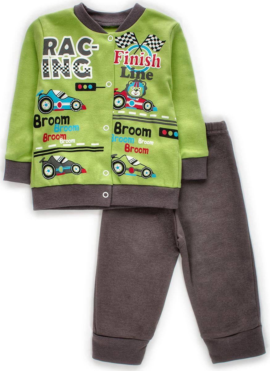 Комплект одежды детский M&D: штанишки, кофточка, цвет: мятный. КМ140904_87. Размер 80КМ140904_87Детский комплект M&D, состоящий из кофточки и штанишек - очень удобный и практичный. Комплект выполнен из 100% хлопка, благодаря чему он необычайно мягкий и приятный на ощупь. Кофточка с длинными рукавами застегивается на кнопки. Штанишки по низу дополнены трикотажными манжетами.