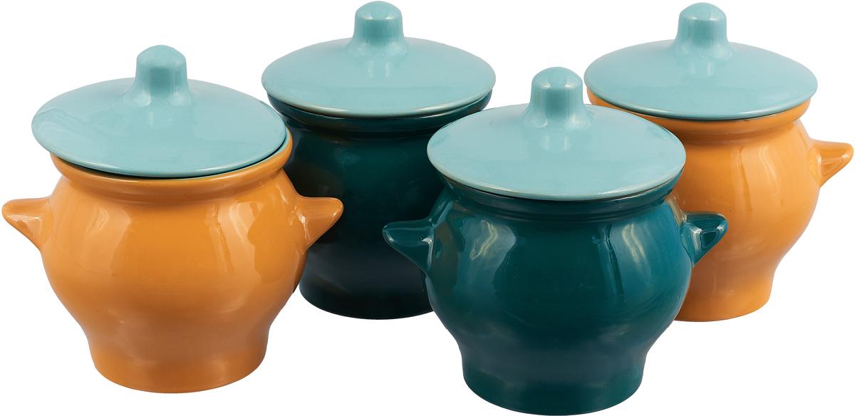 Набор горшочков для запекания Борисовская керамика Радуга, 650 мл, 4 шт
