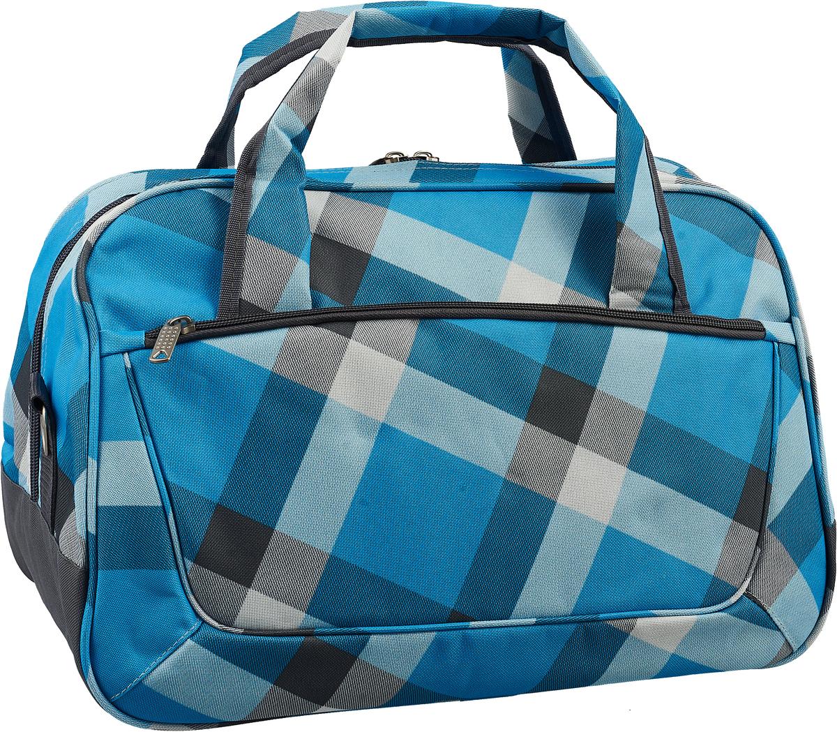 Сумка дорожная Ibag, цвет: голубой, 29 л5205 серо-голубая клеткаТекстильный саквояж премиум класса. Снаружи по 1 накладному карману на молнии с каждой стороны. Внутри 1 большое отделение, 1 боковой карман на молнии, 2 накладных кармана. В комплекте плечевой ремень.