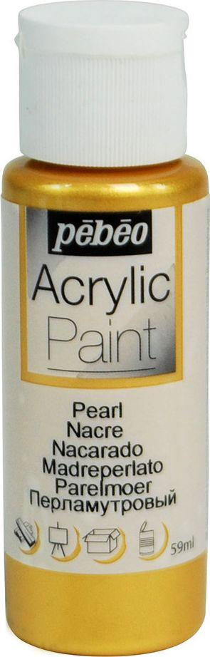 Pebeo Краска акриловая Acrylic Paint перламутровая цвет 097867 под золото 59 мл