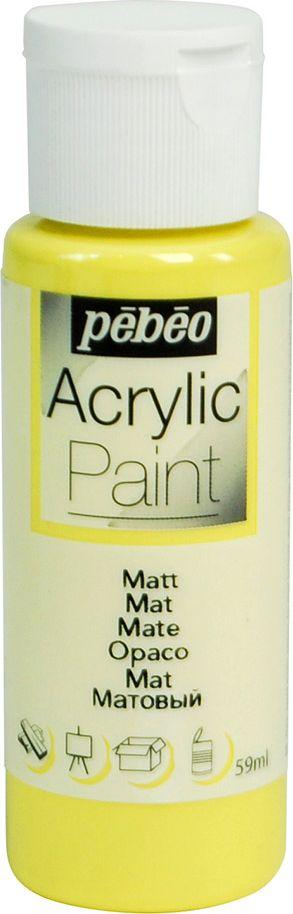 Pebeo Краска акриловая Acrylic Paint матовая цвет 097802 светло-желтый 59 мл