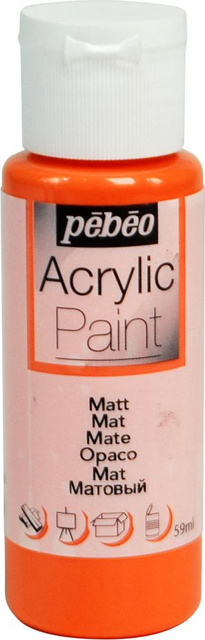 Pebeo Краска акриловая Acrylic Paint матовая цвет 097805 мандарин 59 мл097805Жидкая акриловая краска для декорирования. Высоко пигментированная, покрывная и перманентная. Финиш: матовый. Поверхности: дерево, холст, картон, металл и т.д. Краски смешиваются друг с другом. Водостойкие после высыхания. Обладают высокой покрывной способностью. Разводятся водой.