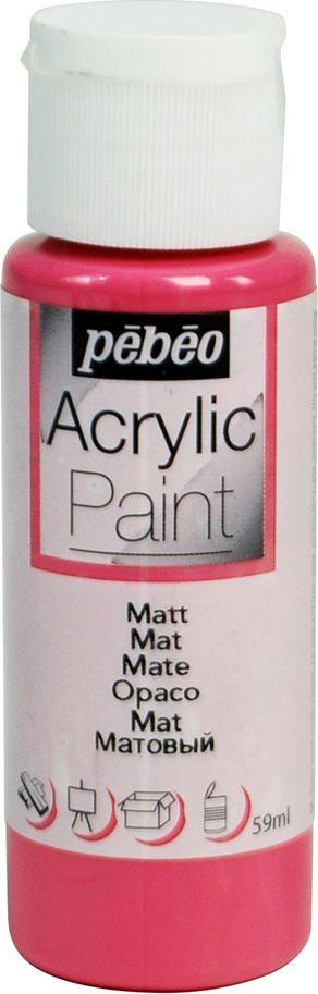 Pebeo Краска акриловая Acrylic Paint матовая цвет 097811 фуксия 59 мл097811Жидкая акриловая краска для декорирования. Высоко пигментированная, покрывная и перманентная. Финиш: матовый. Поверхности: дерево, холст, картон, металл и т.д. Краски смешиваются друг с другом. Водостойкие после высыхания. Обладают высокой покрывной способностью. Разводятся водой.
