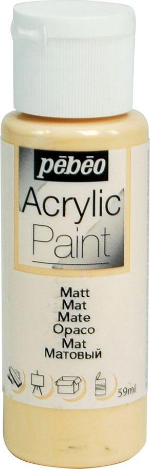 Pebeo Краска акриловая Acrylic Paint матовая цвет 097813 телесный 59 мл097813Жидкая акриловая краска для декорирования. Высоко пигментированная, покрывная и перманентная. Финиш: матовый. Поверхности: дерево, холст, картон, металл и т.д. Краски смешиваются друг с другом. Водостойкие после высыхания. Обладают высокой покрывной способностью. Разводятся водой.