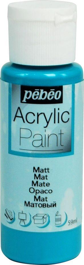 Pebeo Краска акриловая Acrylic Paint матовая цвет 097827 бирюзовый 59 мл краска акриловая folkart цвет лакричный 59 мл plaid 00938 pld