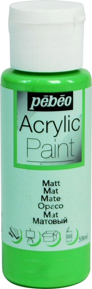 Pebeo Краска акриловая Acrylic Paint матовая цвет 097837 зеленое яблоко 59 мл краска акриловая folkart цвет лакричный 59 мл plaid 00938 pld