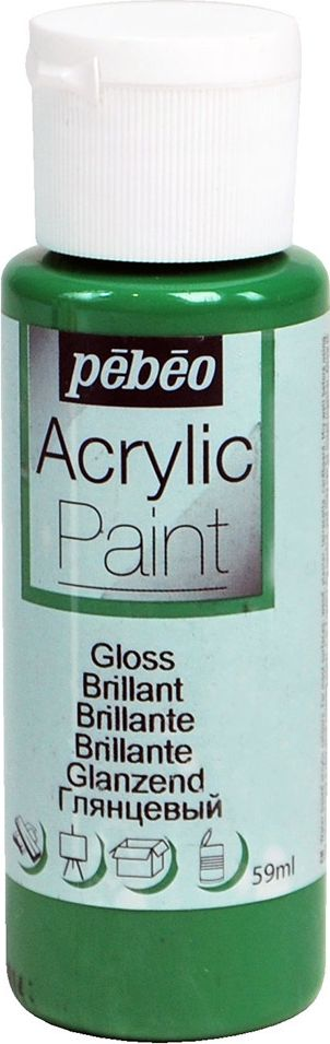 Pebeo Краска акриловая Acrylic Paint глянцевая цвет 097855 зеленый имперский 59 мл краска акриловая folkart цвет лакричный 59 мл plaid 00938 pld