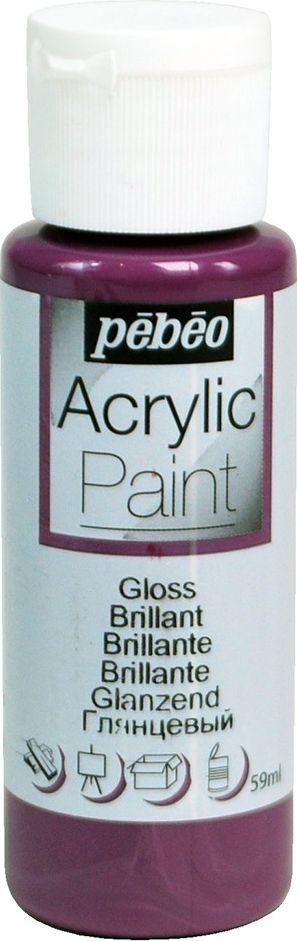 Pebeo Краска акриловая Acrylic Paint глянцевая цвет 097866 инжир 59 мл097866Жидкая акриловая краска для декорирования. Высоко пигментированная, покрывная и перманентная. Финиш: глянцевый. Поверхности: дерево, холст, картон, металл и т.д. Краски смешиваются друг с другом. Водостойкие после высыхания. Обладают высокой покрывной способностью. Разводятся водой.