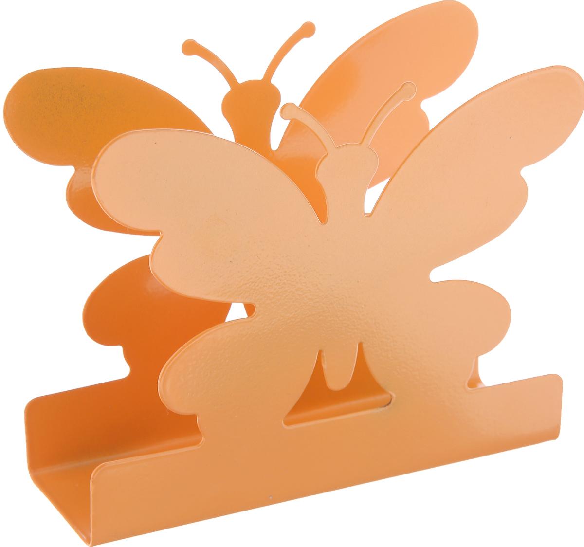 """Салфетница МФК-профит """"Бабочка"""", цвет: оранжевый, 13 х 11 х 4 см"""