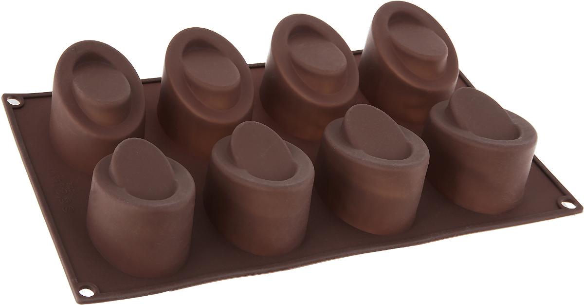 Форма для выпечки Доляна Эллипс, 8 ячеек, цвет: коричневый, 30 х 17,5 х 4,5 см