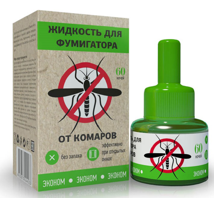 Жидкость для фумигатора Эконом Эконом, от комаров, 60 ночей жидкость для фумигатора от комаров raid на 30 ночей 21 9 мл