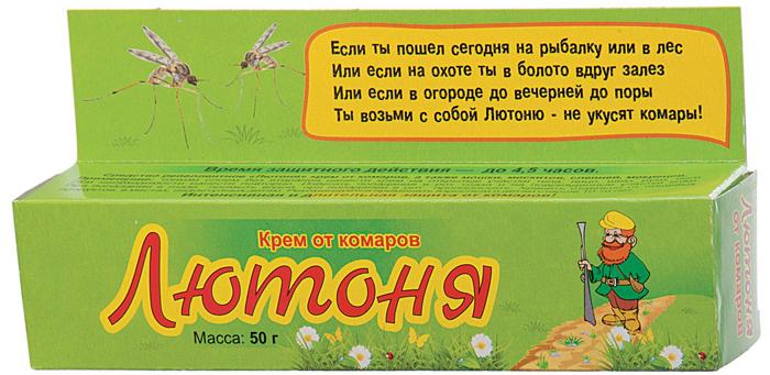 Крем от комаров Ваше хозяйство Лютоня, для взрослых и детей старше 10 лет, 50 г. VH1171 спрей от комаров ваше хозяйство дарики дарики для детей от 2 х лет 125 мл