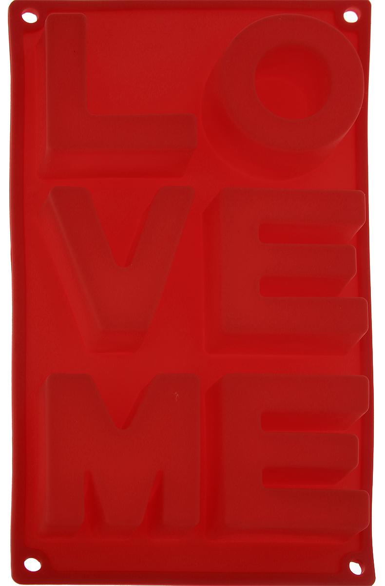 Форма для выпечки Доляна Любовь, цвет: красный, 30 х 17,5 х 3 см, 6 ячеек