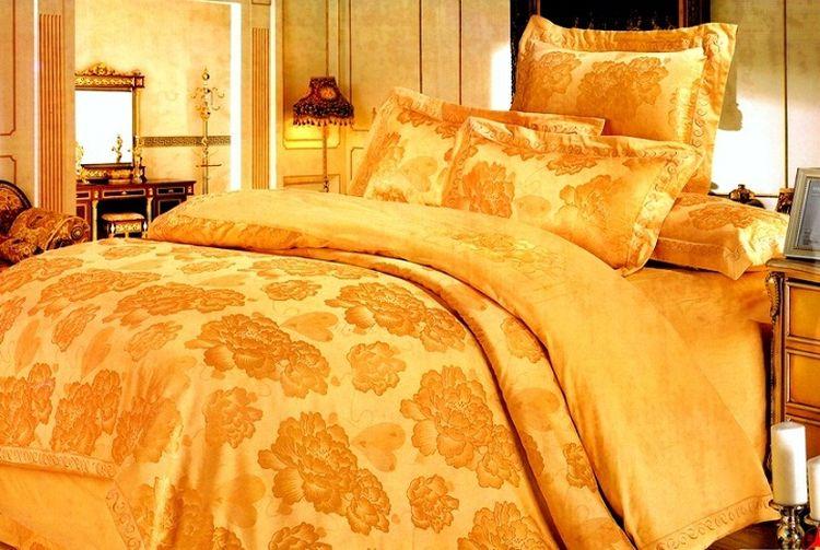 """Комплект постельного белья Tango """"Ahiam"""", семейный, наволочки 50x70, цвет: золотой"""
