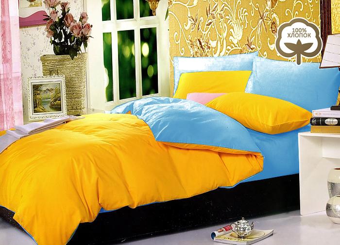 Комплект постельного белья Tango Ria, евро, наволочки 50x70, цвет: голубой, желтыйtan105534Сатин средней плотности – золотая середина среди сатинового постельного белья. Он достаточно плотный, долго не изнашивается, но стоит дешевле сатина повышенной плотности. Комплект из сатина не блестит как шелк, но приятен на ощупь и довольно мягкий. Краска на этой ткани держится очень хорошо: новое белье не полиняет и со временем не станет выцветать.
