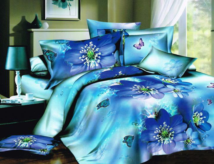 Комплект постельного белья Tango Bolone, евро, наволочки 50x70, цвет: голубой, синий комплект постельного белья 2 спальный из сатина seta цвет голубой розовый