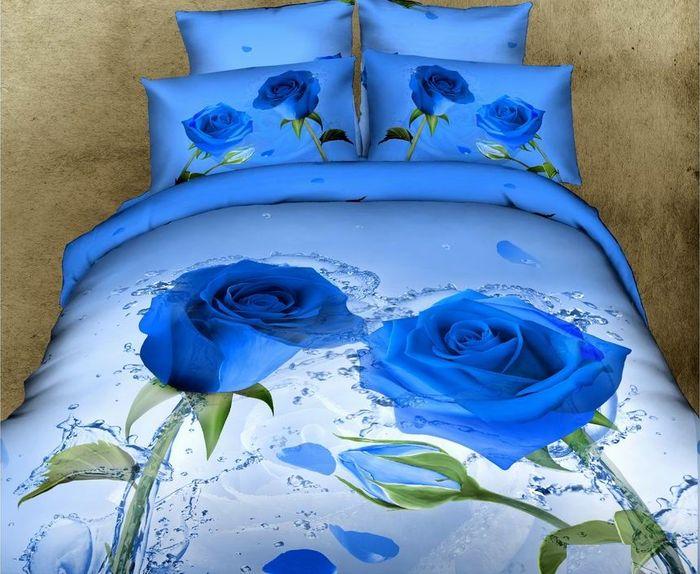 Комплект постельного белья Tango Katelynn, семейный, наволочки 50x70, цвет: голубой комплект постельного белья 2 спальный из сатина seta цвет голубой розовый