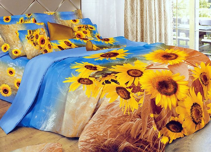 Комплект постельного белья Tango Oriana, семейный, наволочки 50x70, цвет: голубой, желтыйtan99828Сатин средней плотности – золотая середина среди сатинового постельного белья. Он достаточно плотный, долго не изнашивается, но стоит дешевле сатина повышенной плотности. Комплект из сатина не блестит как шелк, но приятен на ощупь и довольно мягкий. Краска на этой ткани держится очень хорошо: новое белье не полиняет и со временем не станет выцветать.