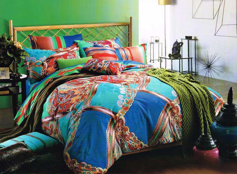 Комплект постельного белья Tango Doriane, семейный, наволочки 50x70tan99847Сатин средней плотности – золотая середина среди сатинового постельного белья. Он достаточно плотный, долго не изнашивается, но стоит дешевле сатина повышенной плотности. Комплект из сатина не блестит как шелк, но приятен на ощупь и довольно мягкий. Краска на этой ткани держится очень хорошо: новое белье не полиняет и со временем не станет выцветать.
