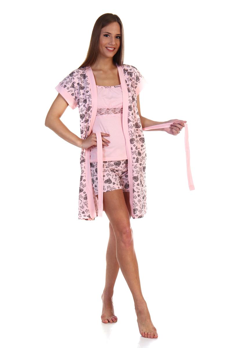 Домашний комплект женский Хоум Стайл, цвет: светло-розовый, темно-коричневый. ХОС-610052-27. Размер 50 (50) майки