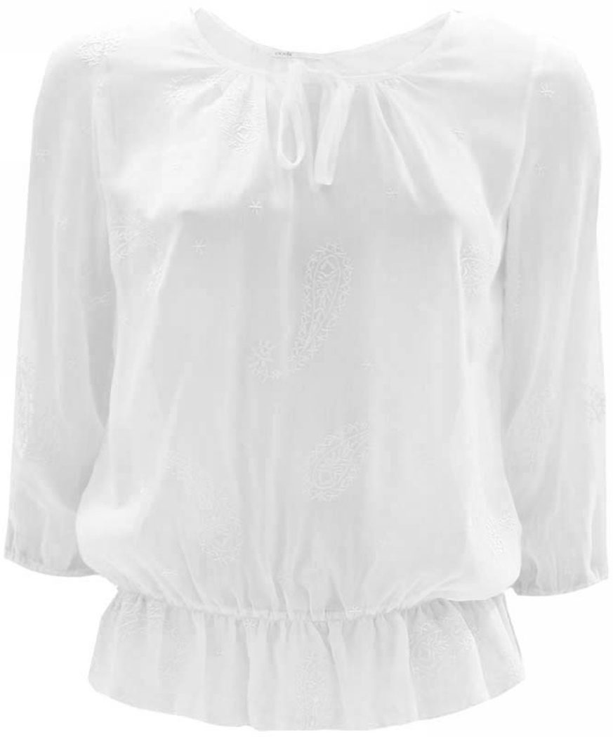 Блузка женская oodji Collection, цвет: белый. 21404015/26399/1000E. Размер 42 (48-170)