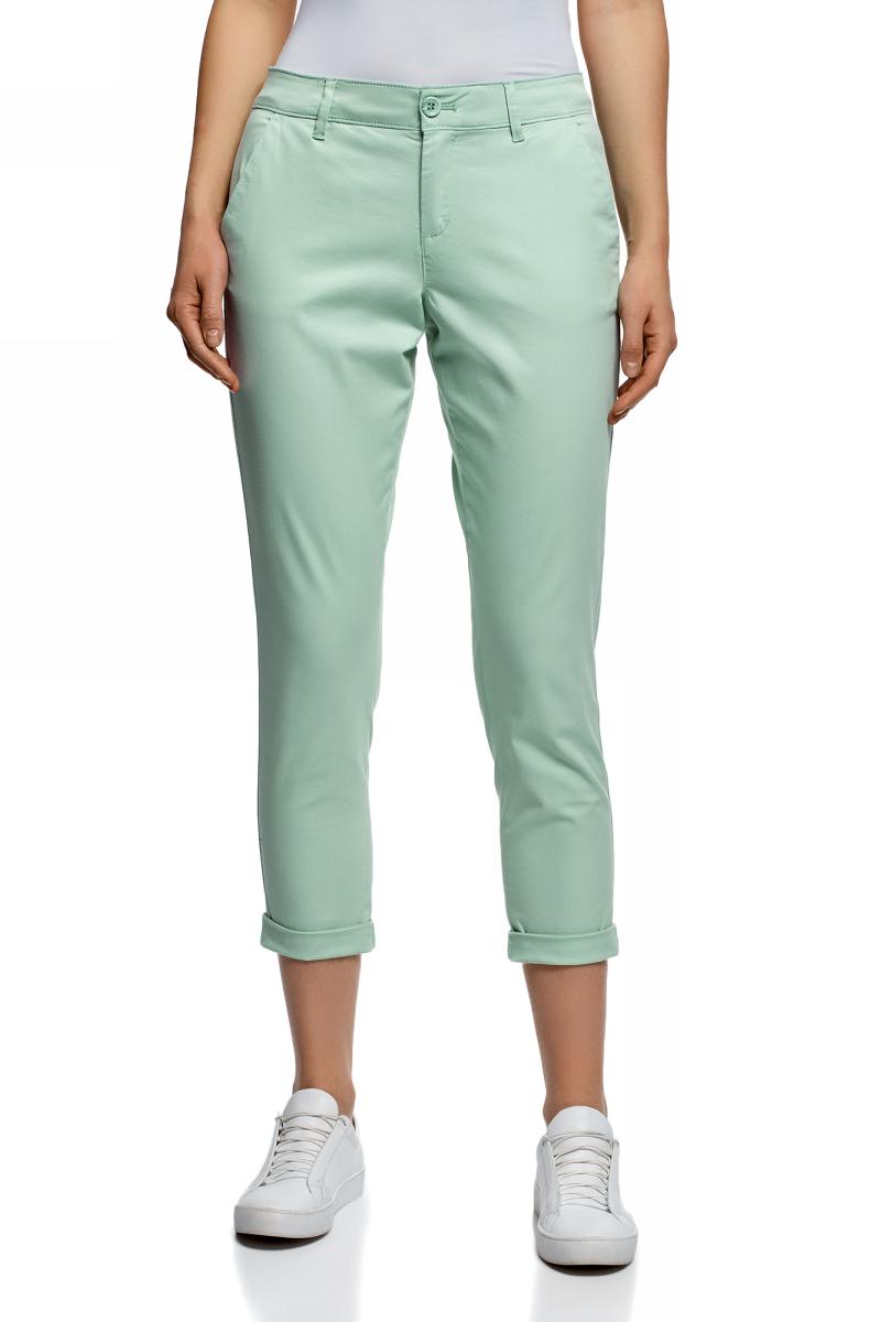 Брюки женские oodji Ultra, цвет: ментоловый. 11706207B/32887/6500N. Размер 44-170 (50-170) женские брюки pants 2015 zd44500