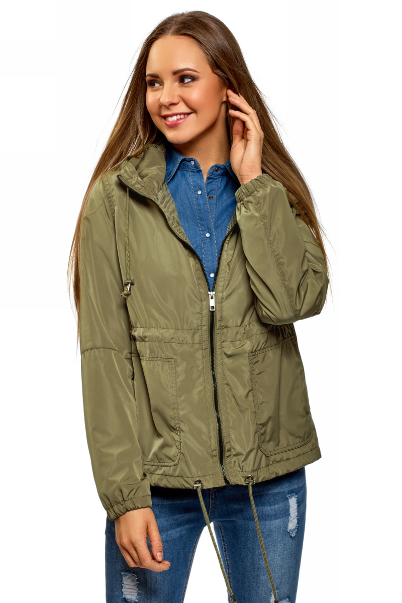 Куртка женская oodji Ultra, цвет: хаки. 10303058/24058/6600N. Размер 34-170 (40-170) пояс широкий с завязками