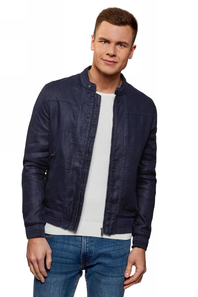 Куртка мужская oodji Lab, цвет: темно-синий. 1L514014M/48087N/7900N. Размер XL (56) кардиган мужской oodji lab цвет темно синий 4l612128m 21654n 7900n размер xl 56