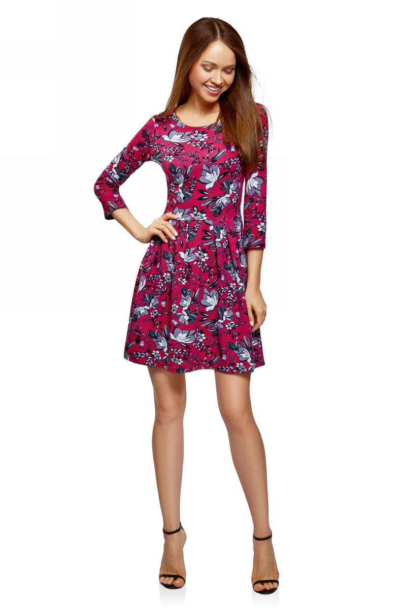 Платье oodji Ultra, цвет: бордовый. 14011005-3/46148/4923F. Размер S (44)14011005-3/46148/4923FПлатье oodji изготовлено из качественного материала. Модель выполнена с рукавами 3/4 и круглым вырезом горловины.
