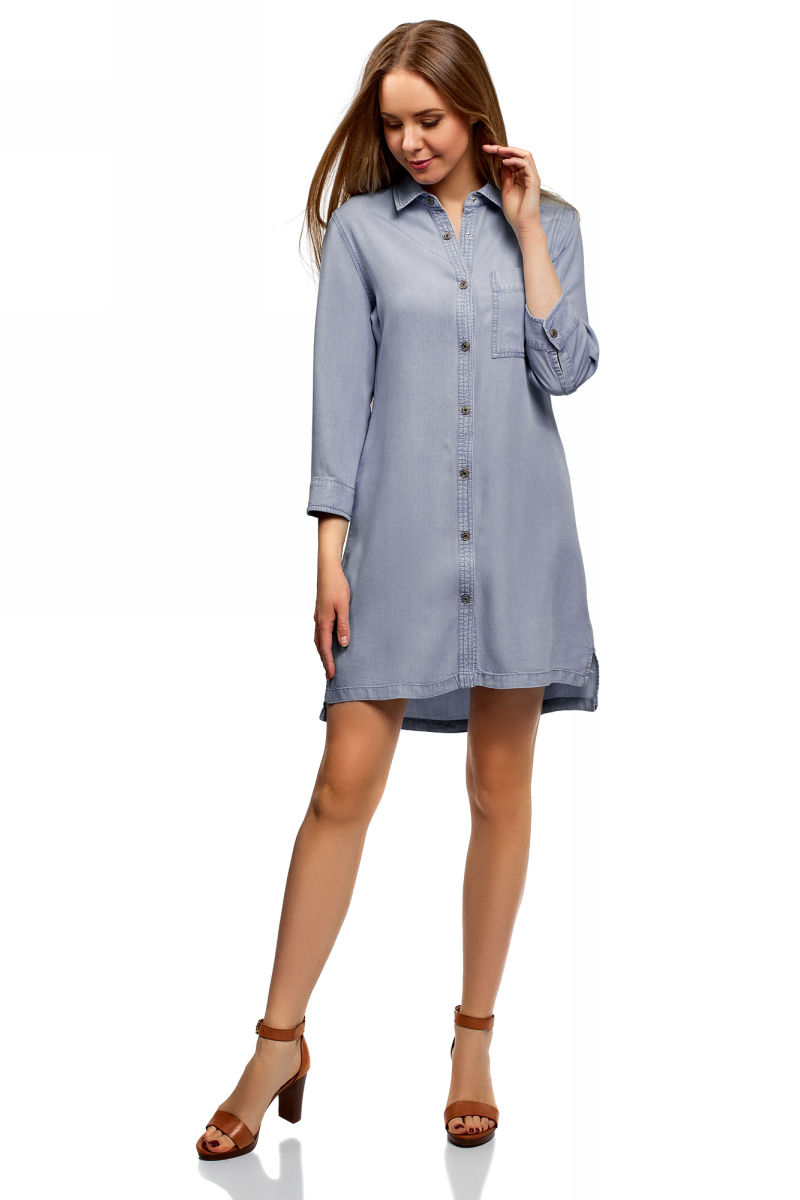 Платье-рубашка oodji Ultra, цвет: голубой джинс. 12909062/45372/7000W. Размер 38 (44-170) платье oodji ultra цвет синий джинс 12909057 47408 7500w размер 44 170 50 170