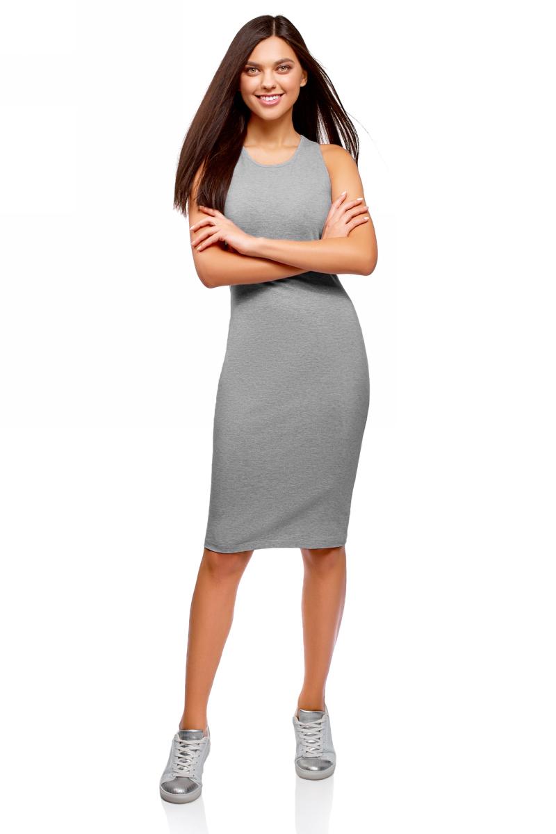 Платье oodji Ultra, цвет: светло-серый меланж. 14015022B/47420/2000M. Размер S (44) платье женское f5 цвет серый синий 271014 grey check 2 размер s 44