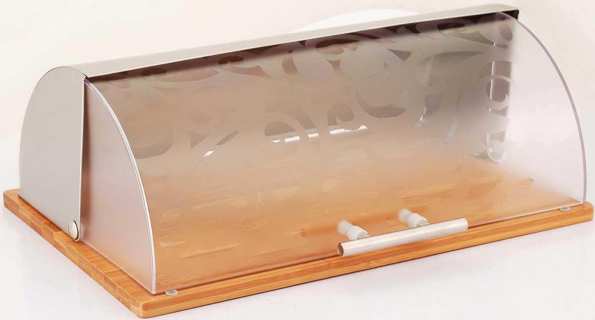 """Хлебница """"Winner"""" позволит сохранить ваш хлеб свежим и вкусным. Она выполнена в классическом дизайне: бамбуковое основание, задняя  стенка из нержавеющей стали. Хлебница снабжена удобной матовой пластиковой крышкой, ручка из нержавеющей стали.. Она имеет компактные размеры, поэтому не займет  много места на вашей кухне. Эксклюзивный дизайн, эстетика и функциональность хлебницы делают ее превосходным аксессуаром на вашей кухне.   Характеристики:   Материал:  бамбук, нержавеющая сталь, пластик. Размер хлебницы:  38 см х 26,5 см х 14 см. Размер упаковки:   Размер упаковки: 40 х 26 х 15.Артикул:  BK-3068."""