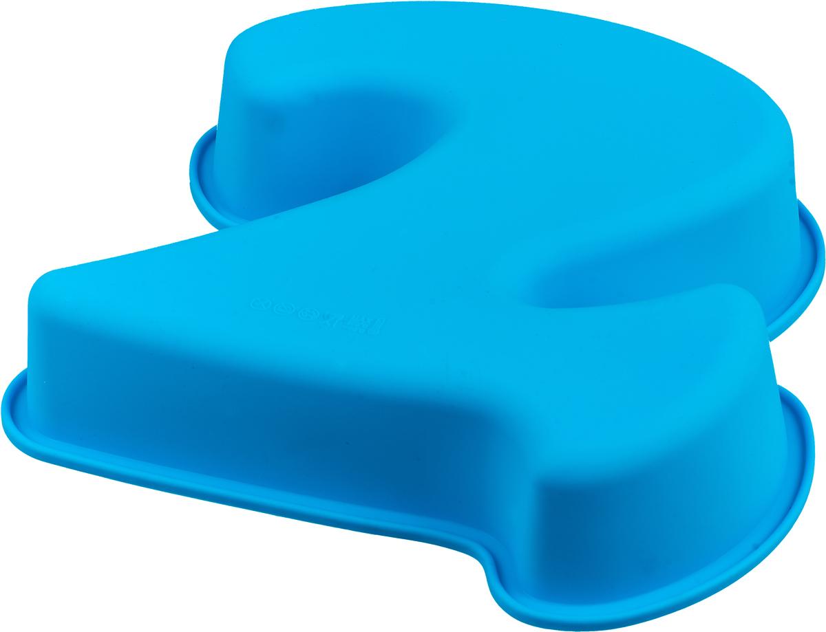"Форма для выпечки Доляна ""Цифра два"", цвет: голубой, 25 х 22 х 5 см"