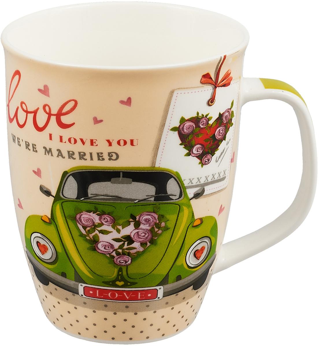 Кружка Loraine Love, цвет: песочный, зеленый, 340 мл. 25973 кружка loraine i love you цвет белый красный розовый 320 мл