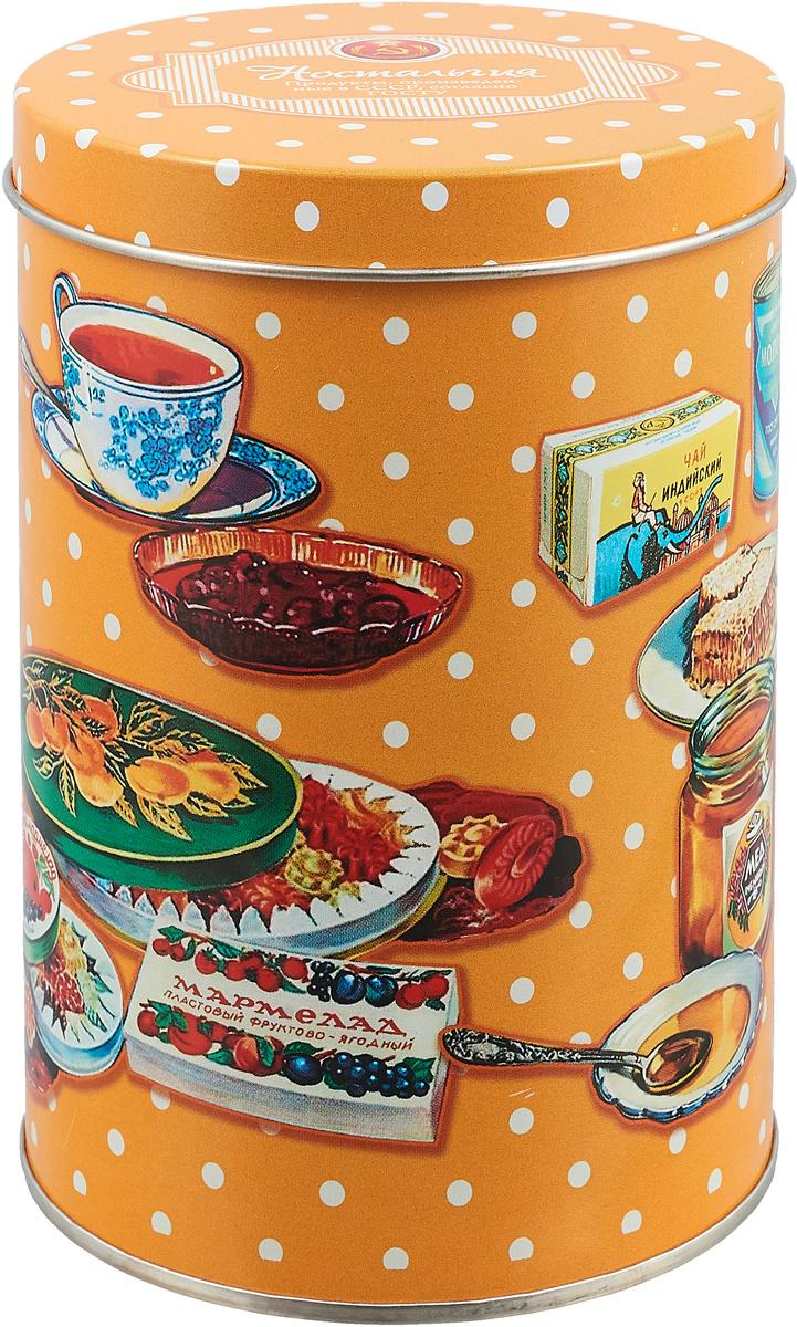 """Банка для сыпучих продуктов Рязанская фабрика жестяной упаковки """"Ностальгия"""", цвет: оранжевый, 1,1 л"""